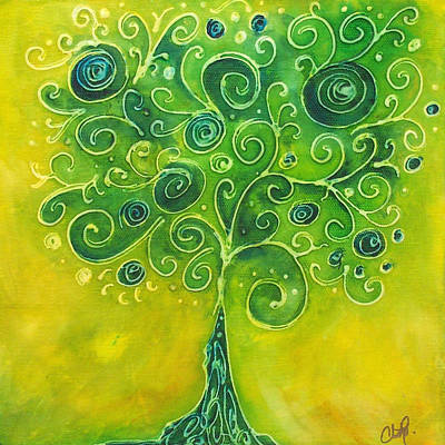 Painting - Tree Of Life Yellow Swirl by Christy Freeman Stark