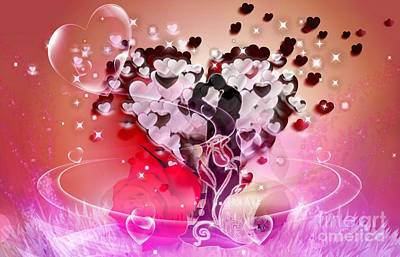 Hearts On Trees Digital Art - Tree Of Love by LDS Dya