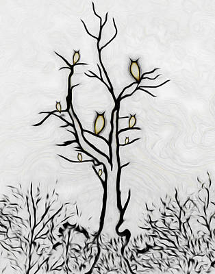 Digital Art - Tree Of Owls by Ernie Echols