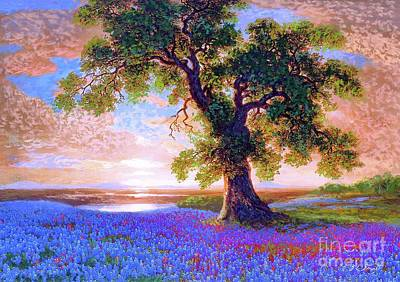 Best Sellers - Landmarks Painting Royalty Free Images - Bluebonnets Royalty-Free Image by Jane Small