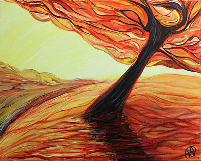Painting - Tree On Hill In Orange by Ajp