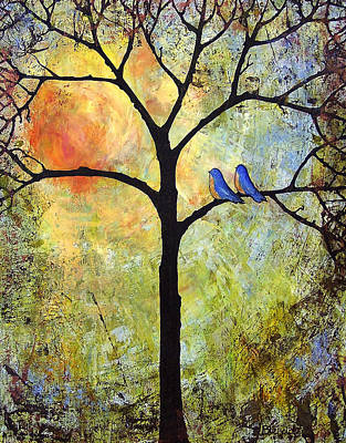 Bluebird Painting - Tree Painting Art - Sunshine by Blenda Studio