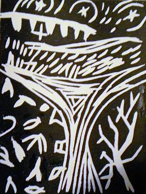 Linocut Mixed Media - Tree Reaching To Heaven by Victoria Hasenauer