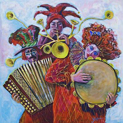 Painting - Three Red Mucians 2 by Maxim Komissarchik