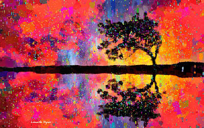Textures Digital Art - Tree Reflection - Pa by Leonardo Digenio