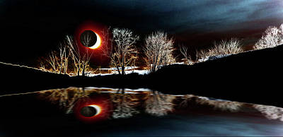Photograph - Tree Reflections Landscape-solar Eclipse 2017 by Mike Breau