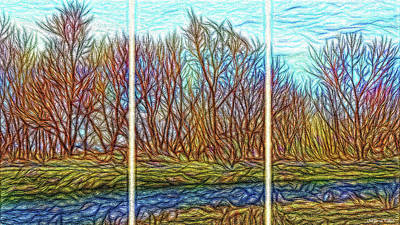 Digital Art - Tree River Daydream - Triptych by Joel Bruce Wallach