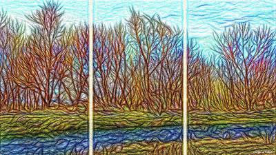 Digital Art - Tree River Daydream - Triptych by Joel Bruce Wallach