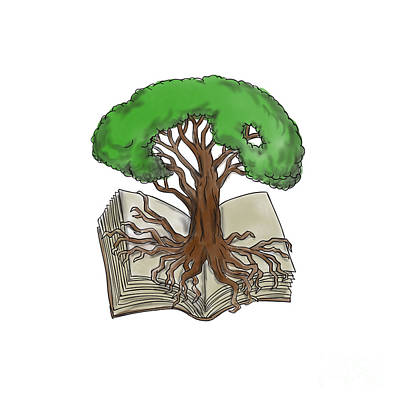 Tree Roots Digital Art - Tree Rooted On Book Tattoo by Aloysius Patrimonio