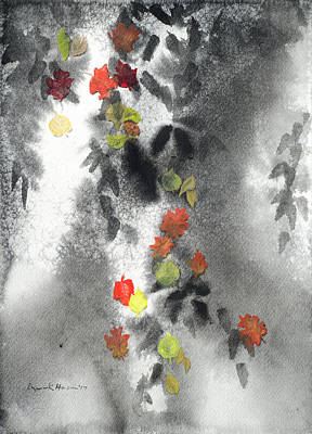 Tree Shadows And Fall Leaves Art Print