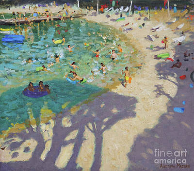 Sun Casting Shadow Painting - Tree Shadows, On The Beach, Near Rovinj by Andrew Macara