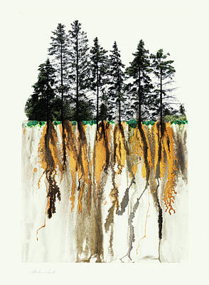 Mixed Media - Tree Silhouette And Golden Roots by Peter V Quenter