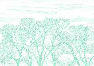 Art Print featuring the photograph Tree Silhouette Teal by Jennie Marie Schell