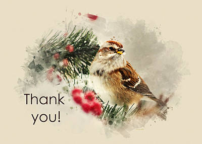 Mixed Media - Tree Sparrow Watercolor Thank You Card by Christina Rollo