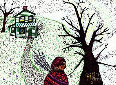 Girls Wall Art Drawing - Tree Spirit by Sarah Loft