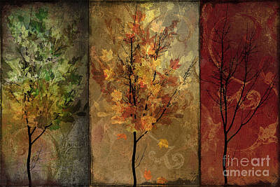 Colored Leaves Painting - Tree Story by Mindy Sommers