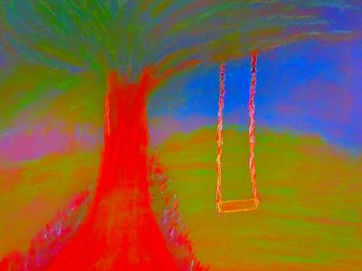 Abstract Expressionism Drawing - Tree Swing by Stephanie Zelaya