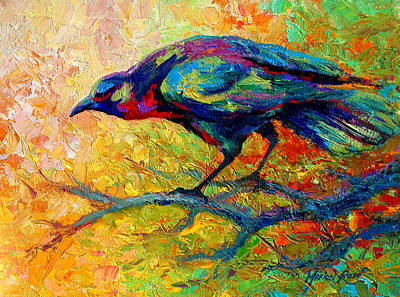 Crow Painting - Tree Talk - Crow by Marion Rose