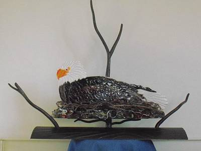 Fused Mixed Media - Tree Top Eagle by Rob Harder