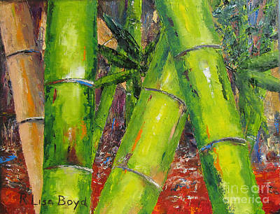Painting - Tree Top Park Bamboo By Pallet Knife by Lisa Boyd