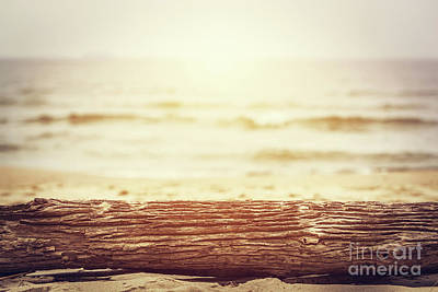 Copy Photograph - Tree Trunk Lying On The Beach. Ocean Background, Sun Shining. by Michal Bednarek