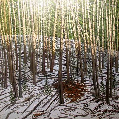 Photograph - Tree Trunks Snow Forest Painting by Ted Pollard