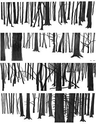 Painting - Tree Trunks,panoramic Ink Drawings by Martin Stankewitz