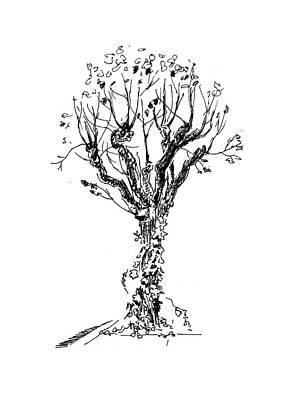 Painting - Tree With Bindweed by Masha Batkova