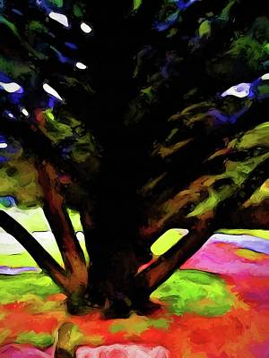 Digital Art - Tree With Black Branches On A Rainbow Ground by Jackie VanO