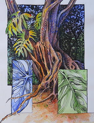Philodendron Painting - Tree With Split Leaf Philodendron by Peggy Hosford Masce
