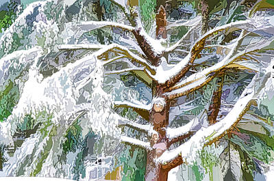 Frosty Weather Painting - Tree With White Fluffy Snow by Lanjee Chee