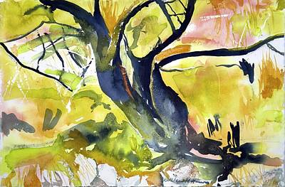 Painting - Tree With Yellow by Kathleen Barnes