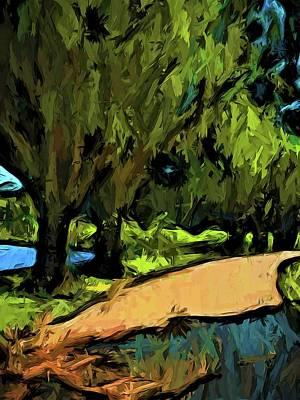 Digital Art - Trees Along An Apricot Path by Jackie VanO