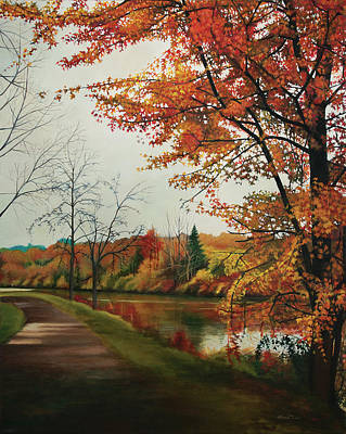 Painting - Trees Along The Canal by Maria Rizzo