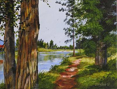 Painting - Trees Along The River by Judy Bradley