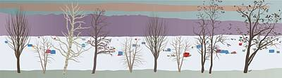 Wall Art - Painting - Trees And Bobhouses by Marian Federspiel