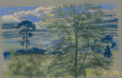 Pastel - Trees And Fields by Arthur Bowen Davies