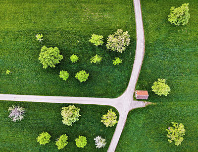 Photograph - Trees And Roads From Above Drone Photography by Matthias Hauser