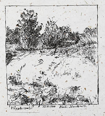Drawing - Trees And Shrubs, Rural Landscape Drawing In Ink by Martin Stankewitz