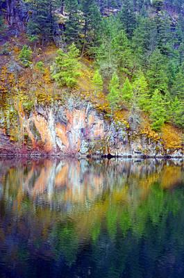 Photograph - Trees And Stone Reflected At Yellow Lake by Tara Turner