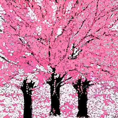 Painting - Trees Are Pink Oil Painting by Saundra Myles