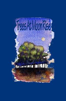 Painting - Trees At Moon Rise Shirt by John D Benson
