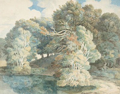 Trees By The Lake, Peamore Park, Near Exeter, Devon Art Print by Francis Towne