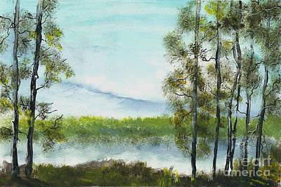 Painting - Trees by the lake by Yossi Sigura