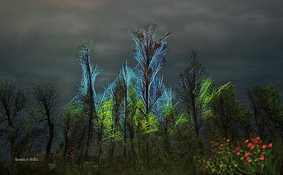 Digital Art - Trees Electrified In Fantasy Land by Bonnie Willis