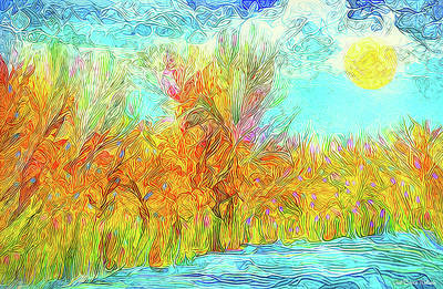 Art Print featuring the digital art Trees Flow With Sky - Boulder County Colorado by Joel Bruce Wallach