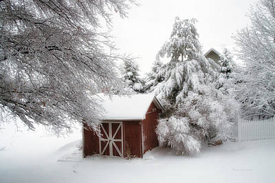 Trees Fresh Snow Fall In The Backyard Art Print by Thomas Woolworth