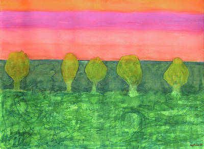 Refection Painting - Trees, Green And Evening Sky by Heidi Capitaine