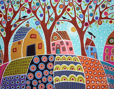 Primitive Folk Art Painting - Trees Houses Barn And Birds by Karla Gerard
