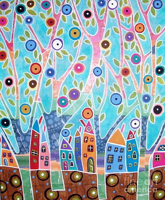 Primitive Folk Art Painting - Trees Houses Landscape by Karla Gerard